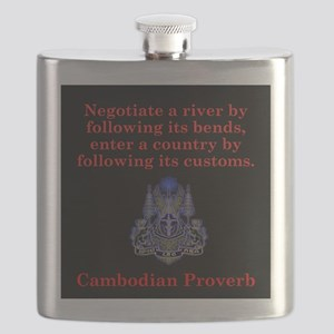 Negotiate A River - Cambodian Proverb Flask